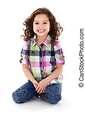 Happy girl - Stock image of happy girl, isolated on white...