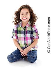 Stock image of happy girl, isolated on white background