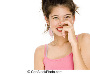 Happy Girl - A young woman in a pink top on white background...