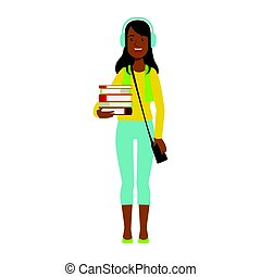 Happy girl student in headphones holding stack of books. Colorful cartoon illustration