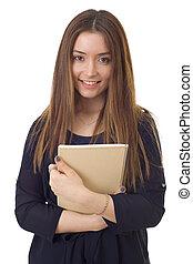 happy girl student isolated