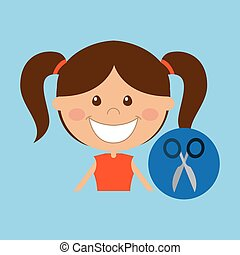 happy girl student school scissors icon