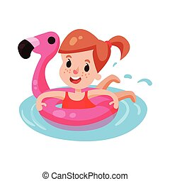 Happy girl swimming with pink inflatable lifebuoy, kid having fun in the pool or the sea colorful character vector Illustration