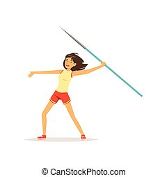 Happy girl taking part in javelin throw competition. Athletic young woman character in sportswear. Healthy lifestyle. Olympic game. Isolated flat vector