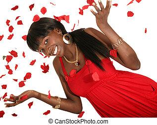 Happy Girl Throwing Rose Petal