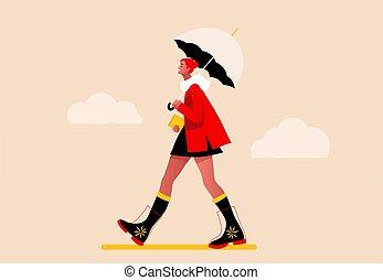 Happy girl walking in the rain vector
