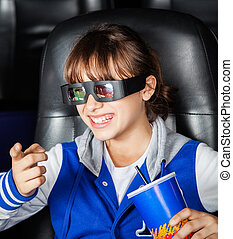 Happy Girl Watching 3D Movie In Theater