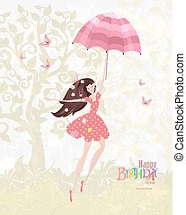 Happy girl with a pink umbrella. Mary Poppins. Happy birthday
