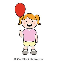 Happy girl with a red balloon