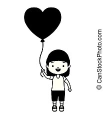 happy girl with balloon