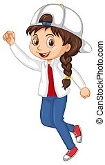 Happy girl with big smile jumping illustration