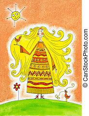 Happy girl with birds, child's drawing, watercolor painting on paper