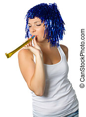 happy girl with blue wig ready for party