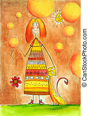 Happy girl with cat, child's drawing, watercolor painting on...