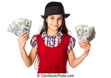 Happy girl with dollars in hands - Happy girl in black hat...