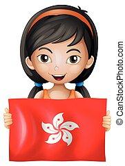 Happy girl with flag of HongKong