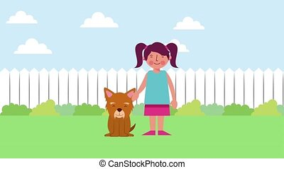 happy girl with his dog in the garden animation hd