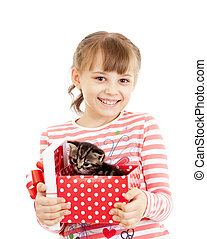 Happy girl with kitten in gift box