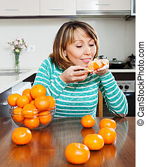 Happy girl with mandarins
