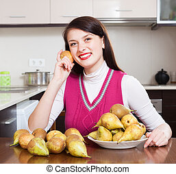 Happy  girl with pears