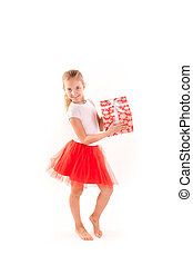 Happy girl with present box isolated