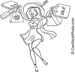 Shopper - Happy girl with shopping bags in shop. Shopper....