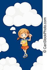 Happy girl with sky background