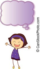 Happy girl with speech bubble