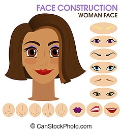 Happy girl. Woman face constructor. Cartoon style.