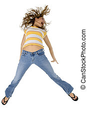 Happy Girl - Young teen jumping.