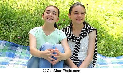 Happy girls enjoying nature