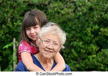 happy girls - girl with grandma