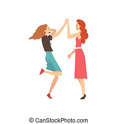 Happy Girls Giving High Five, Happy Meeting, Female Friendship Concept Vector Illustration