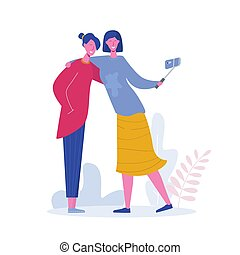 Happy girls holding mobile phone. Friends posing for selfie, group of joyful people photographing themselves. Flat cartoon characters vector illustration