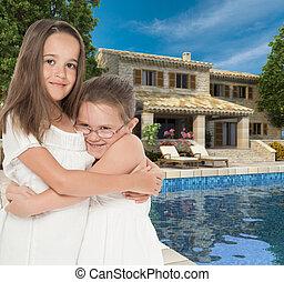 Happy girls in dream house