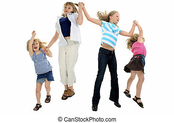 Happy Girls Jumping - Four girls aged 4 - 10 holding hands...