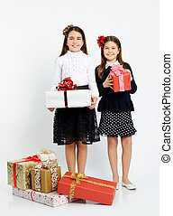 happy girls with gifts