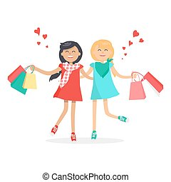 Happy Girls with Shopping Bags. Friends Forever - Happy ...