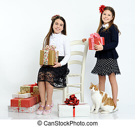happy girls with the gifts