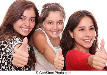 girls with thumb up