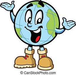 Happy Globe Guy - Happy smiling globe world travel explorer...