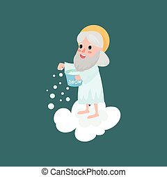 Happy god character throwing snow
