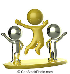 Happy golden and silver team business partners 3D image logo