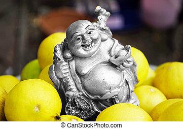 Happy golden Buddha