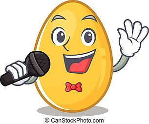 Happy golden egg singing on a microphone