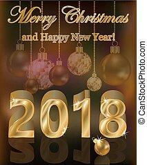 Happy golden new 2018 year card, vector illustration