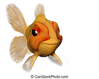 Happy goldfish - A cartoon goldfish looking very happy and...