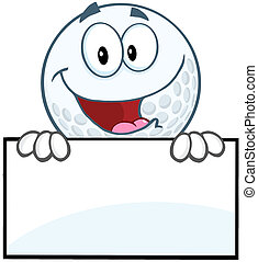 Happy Golf Ball Character Over Sign