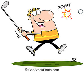 Happy Golfer Hitting Golf Ball