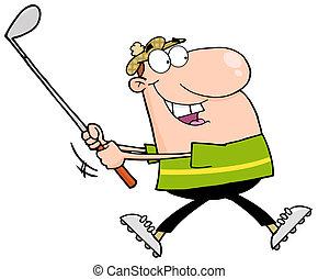 Happy Golfer Running - Caucasian Man Swinging A Golf Club
